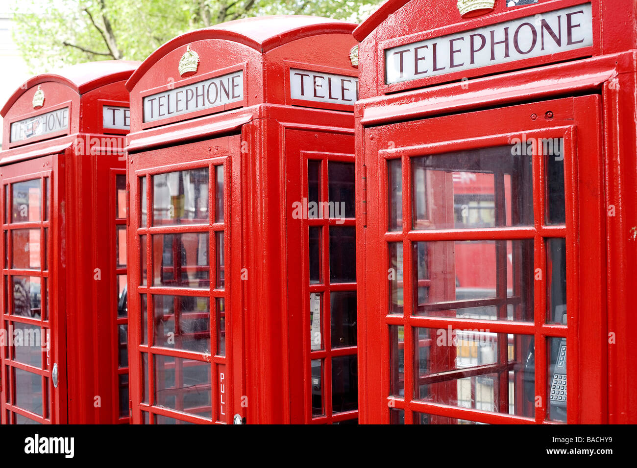 United Kingdom, London, the red telephone box designed by the architect Sir Giles Gilbert Scott in the twenties - Stock Image