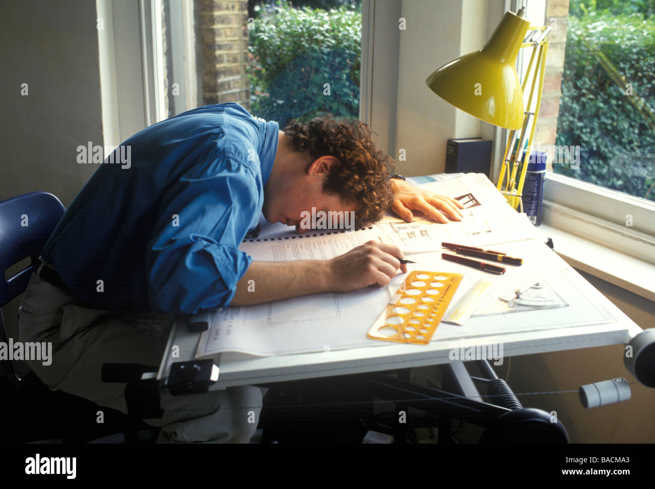 Captivating Male Architect Or Designer Asleep Over His Work