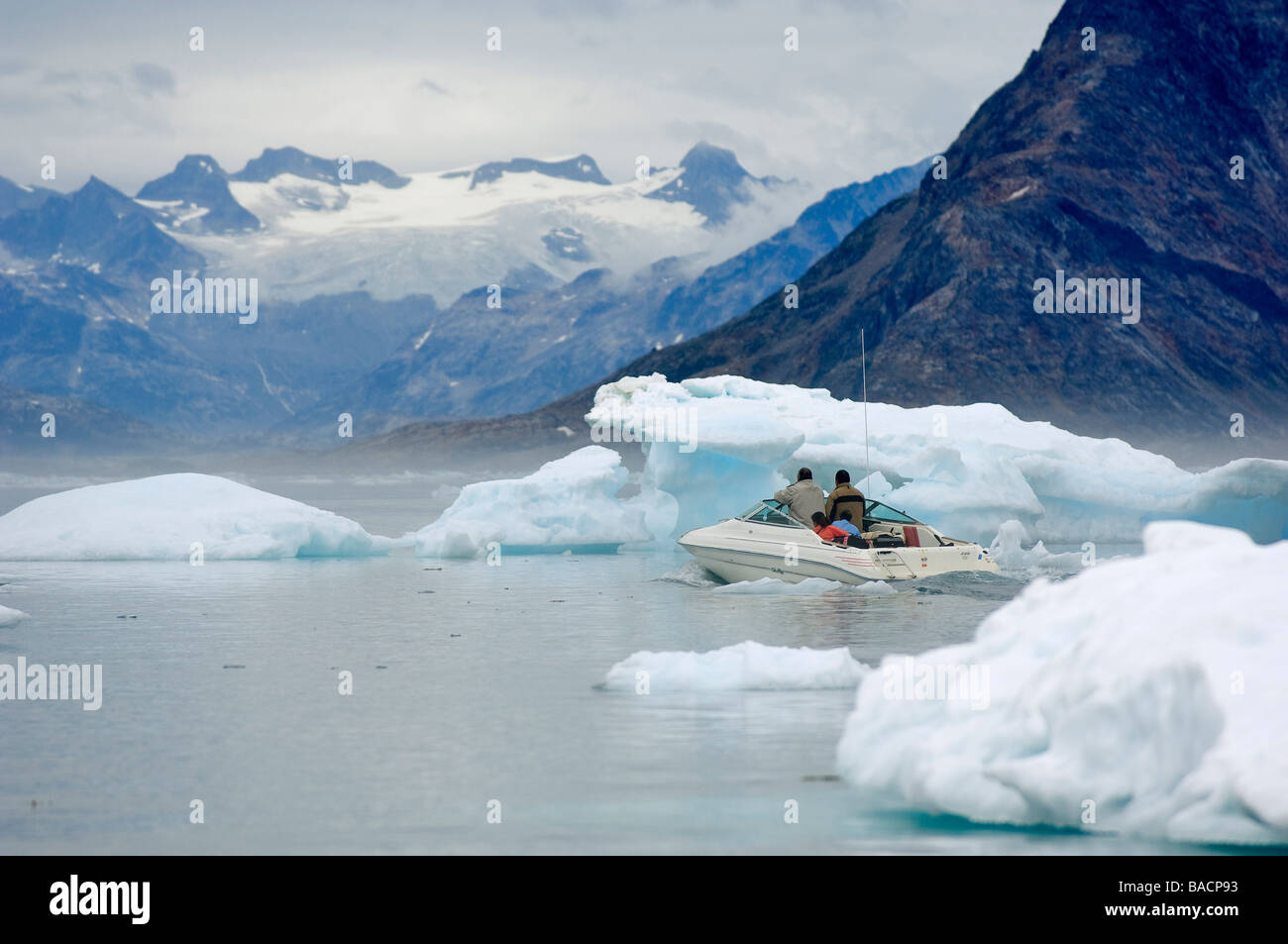 Greenland, Angmassalik Region, Kulusuk, the only way to go from a village to another one is by boat, - Stock Image