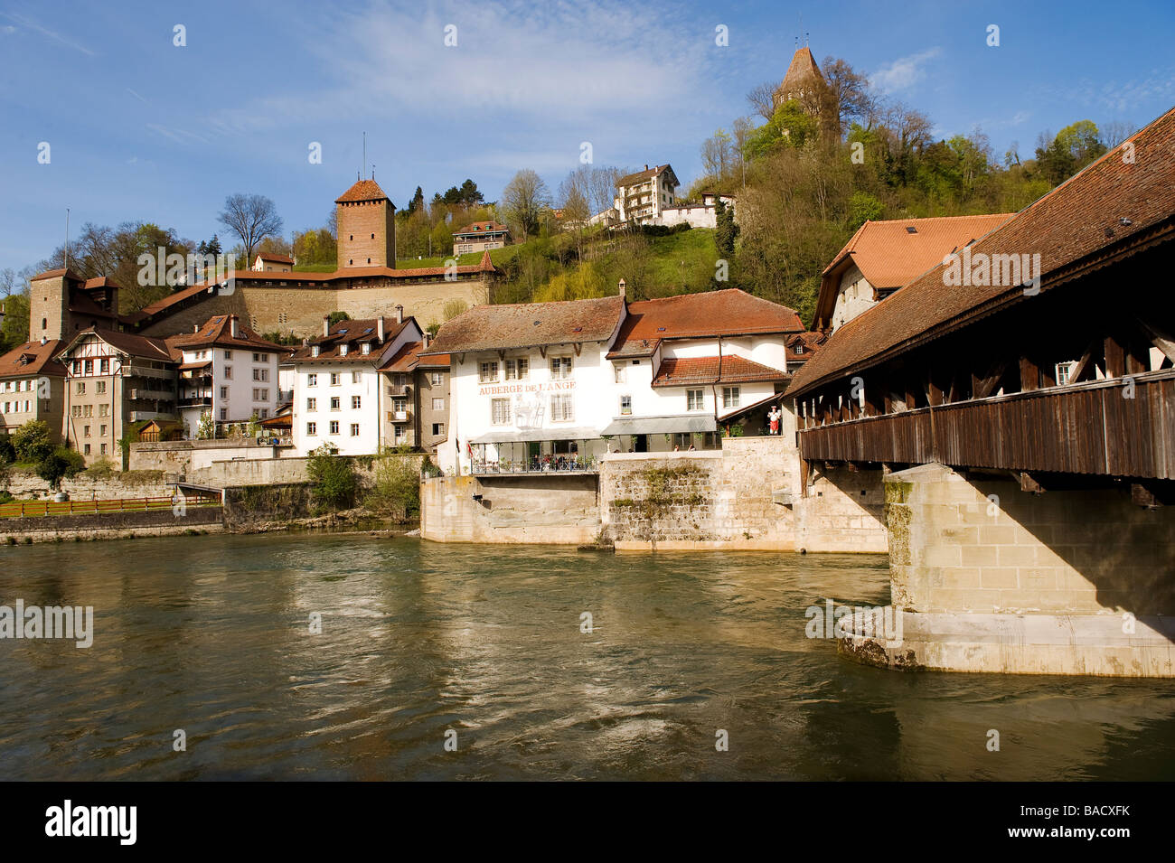 Switzerland, Canton of Fribourg, Fribourg, Sarine River (Saane River ...