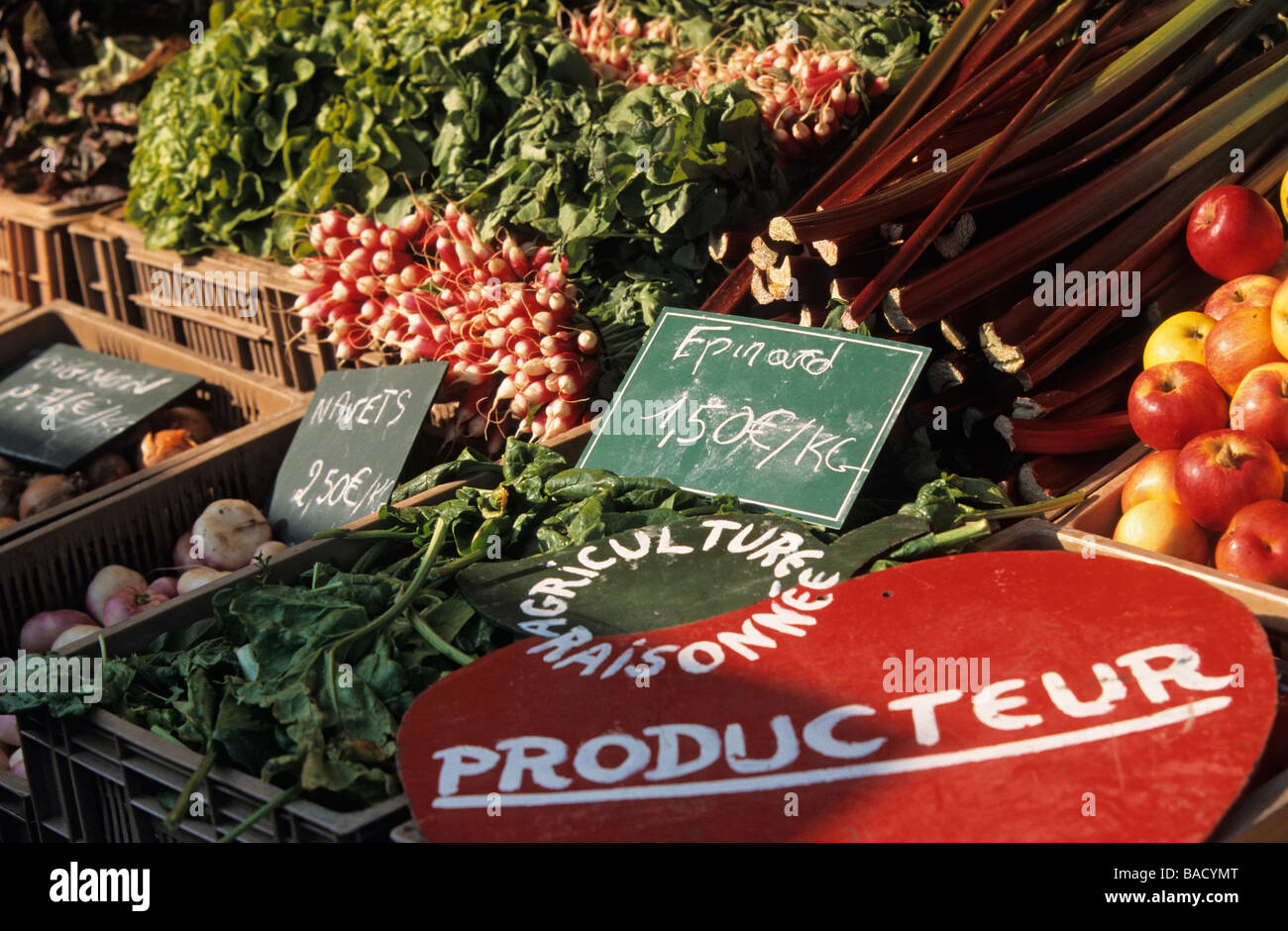 France, Nord, Lille, close-up of the stall of a producer integrating farming on the market - Stock Image