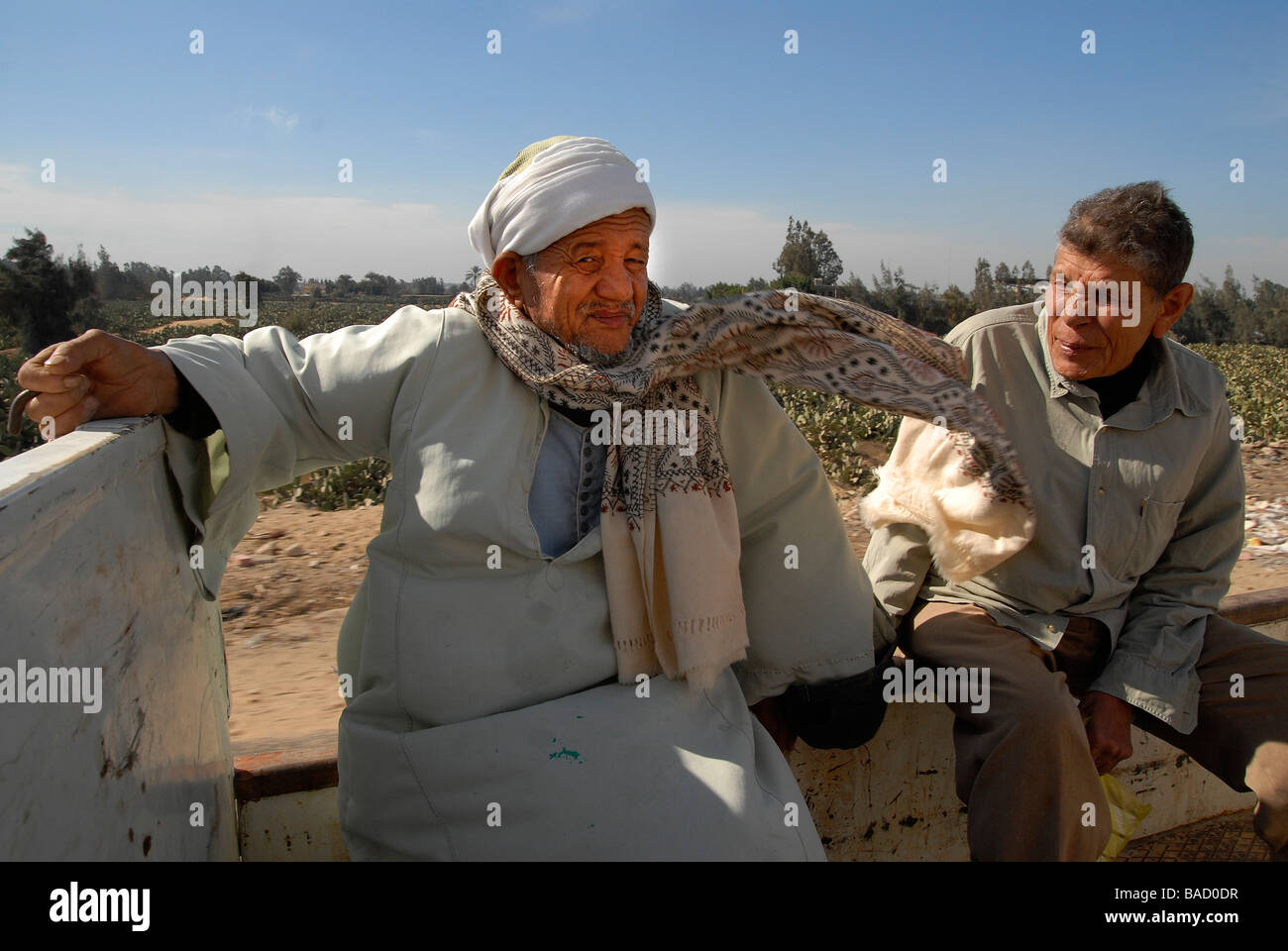 Ex leprosy patients are riding a pick up between the leprosy hospital in the ex-lepers village in Egypt. - Stock Image