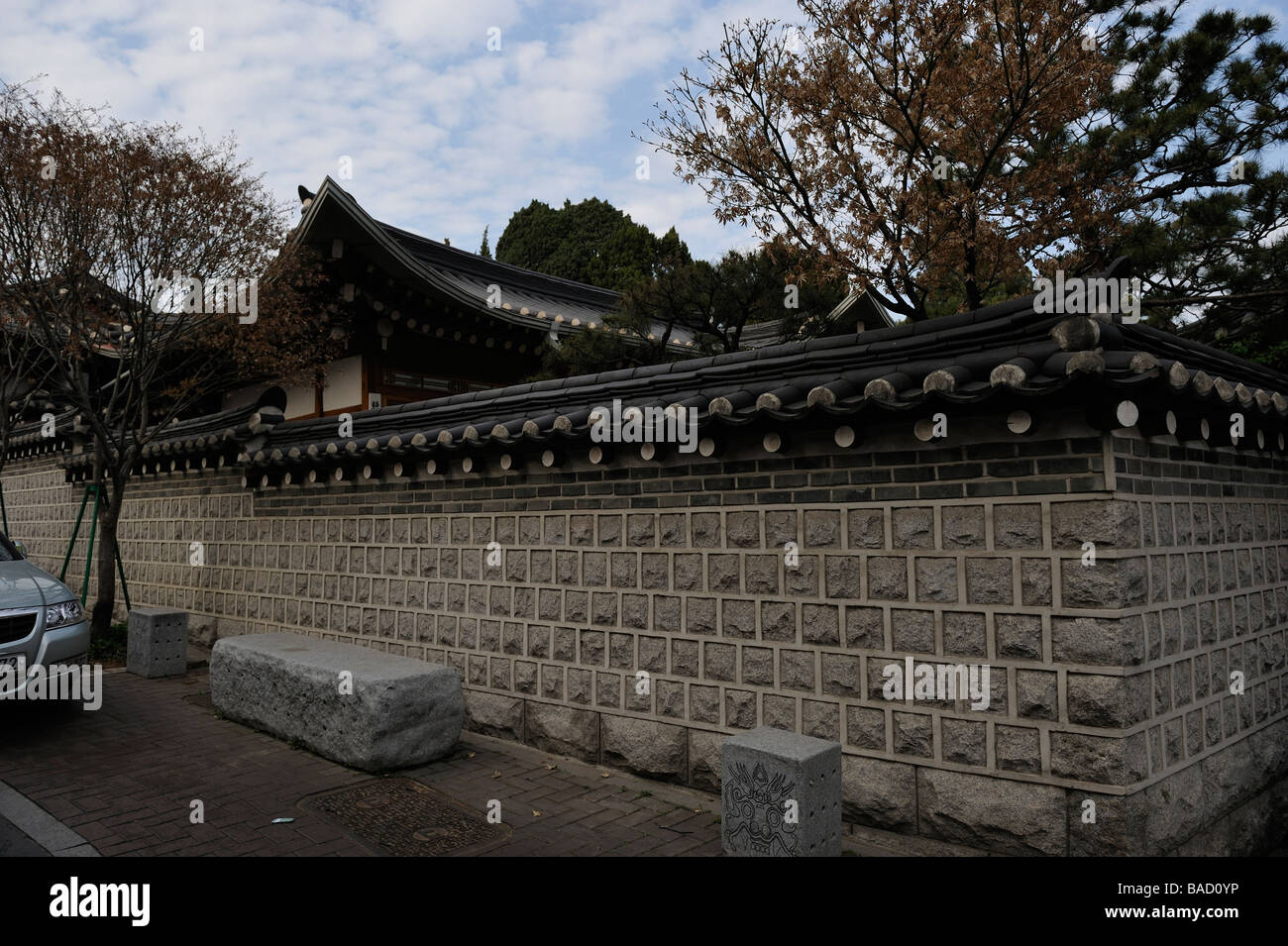 Traditional Korean resident house for aristocrats in Seoul, Korea - Stock Image