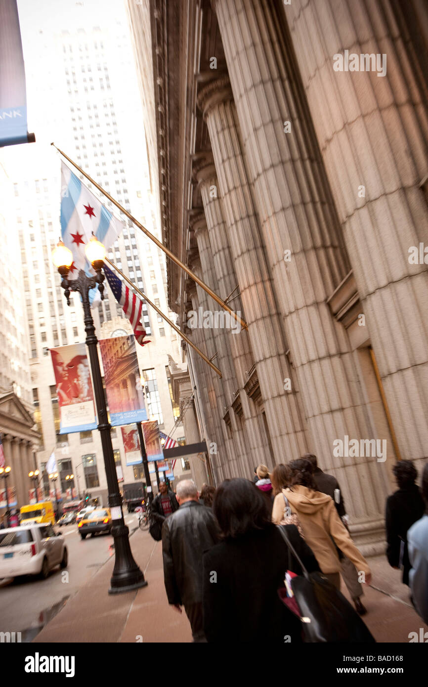 People walking towards the Chicago Board of Trade Building Chicago Illinois - Stock Image