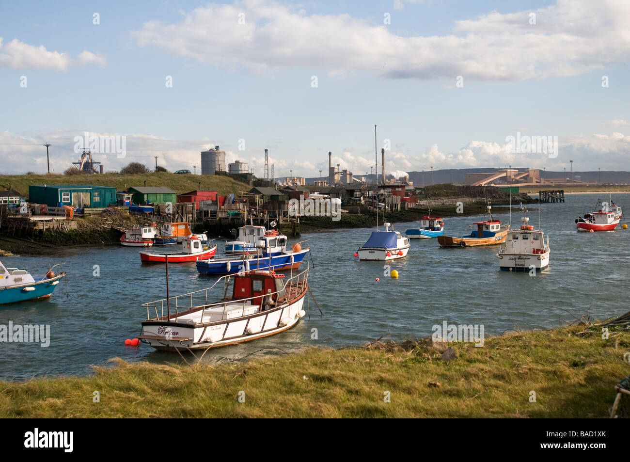Fishing boats at Paddy's Hole, Redcar, Cleveland - Stock Image