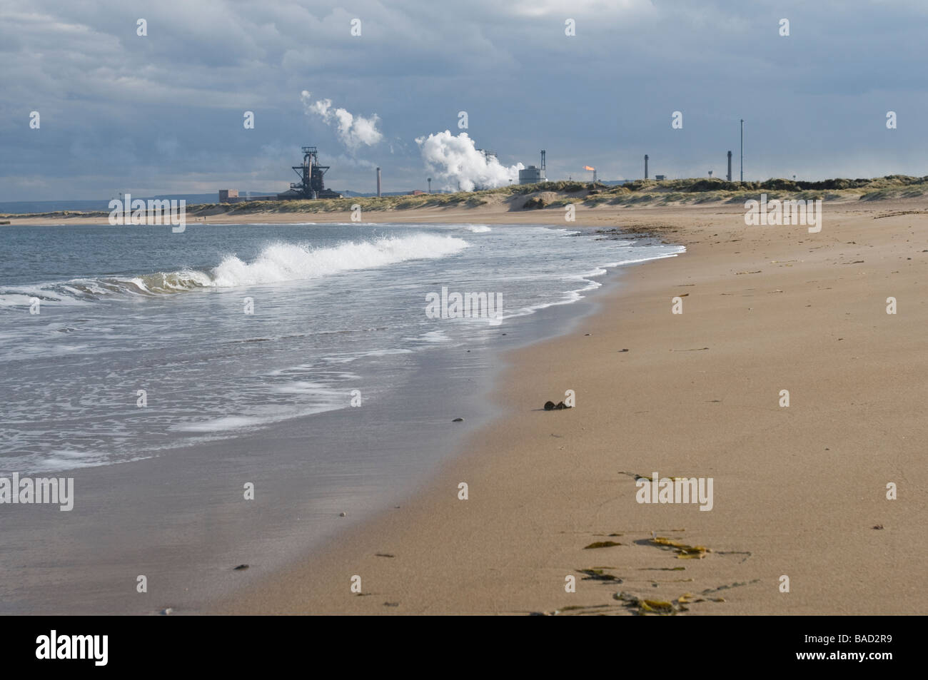 Reclaimed beach at Paddy's Hole, Redcar, Cleveland - Stock Image