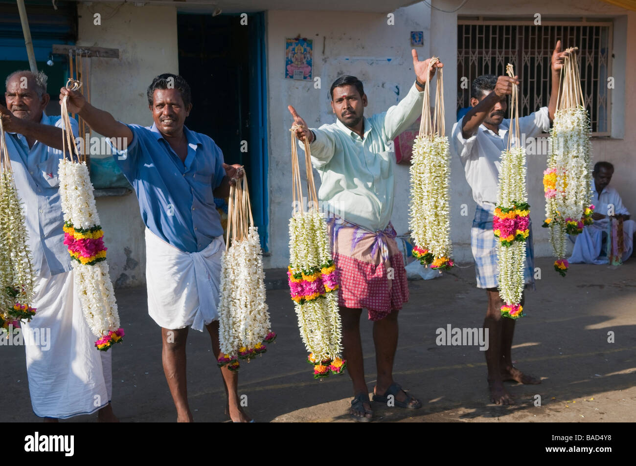Garland sellers Velankanni Tamil Nadu India Stock Photo