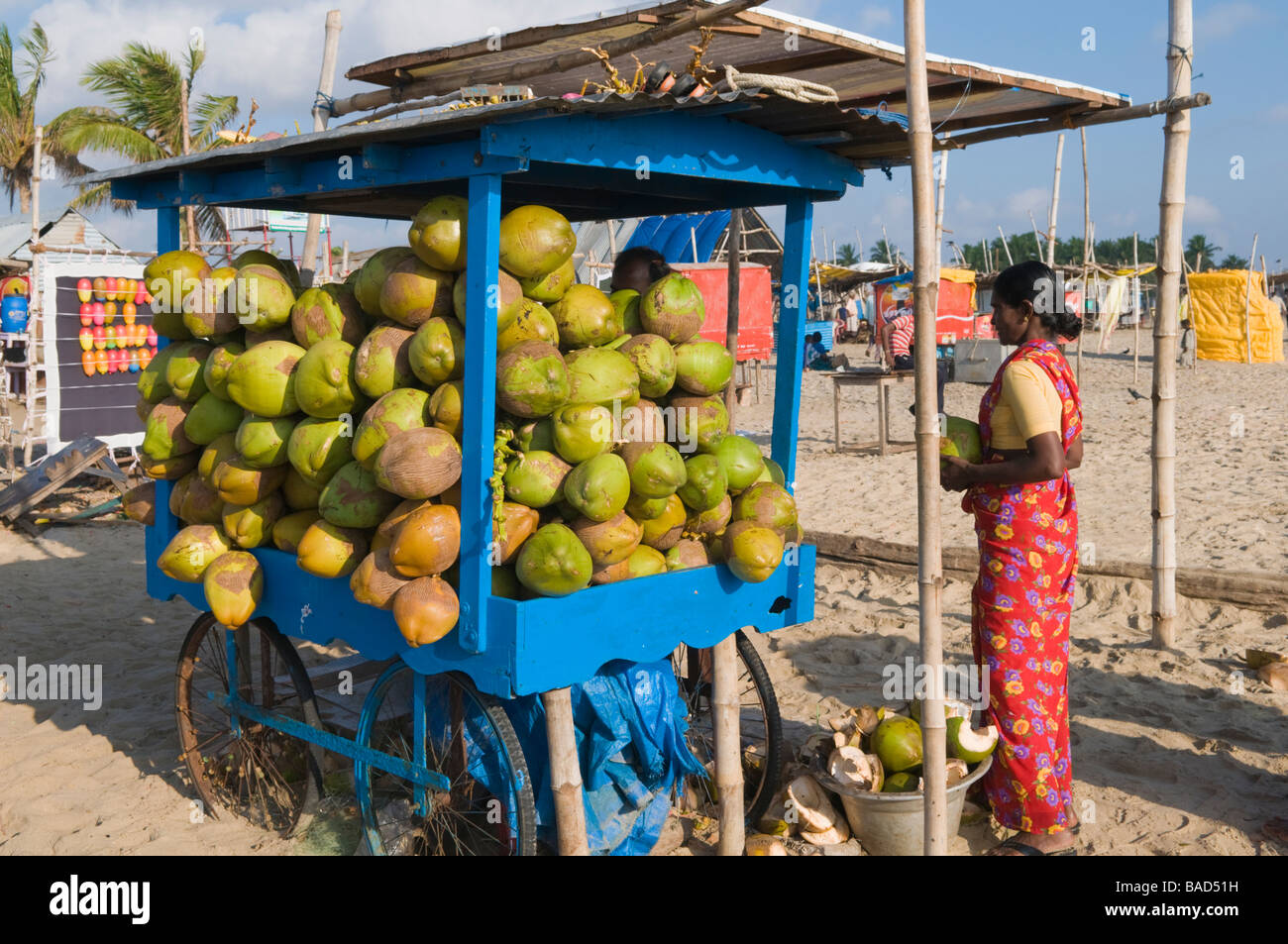 Coconut seller Velankanni beach Tamil Nadu India Stock Photo