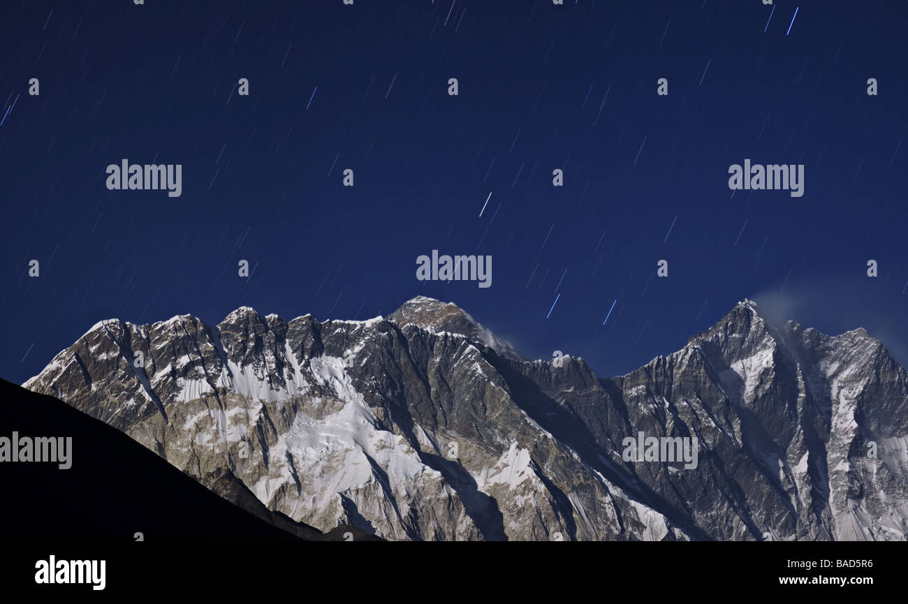 moonlight on everest from tengboche monastery khumbu nepal 2008 - Stock Image