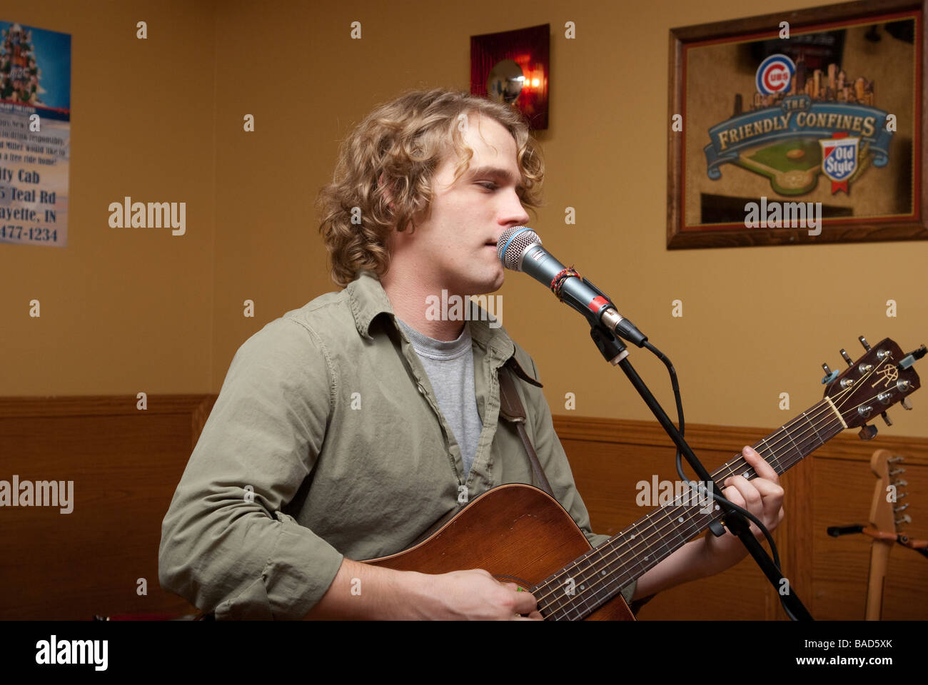 Guitarist / Singer Adam Gibson plays at a New Year's Even show in Lafayette, IN - Stock Image