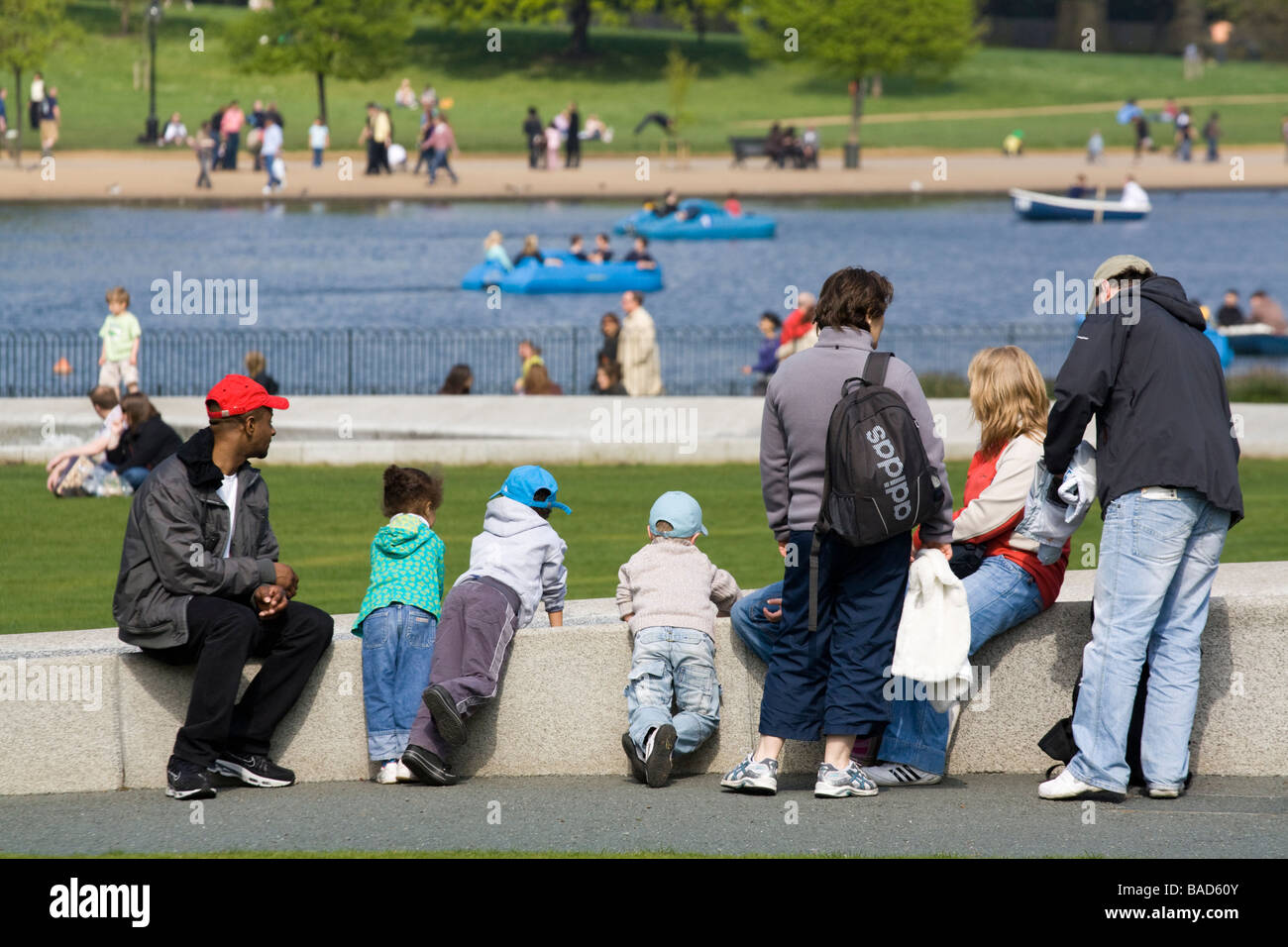 Family at Diana Princess of Wales Memorial Fountain - Hyde Park  - London - Stock Image