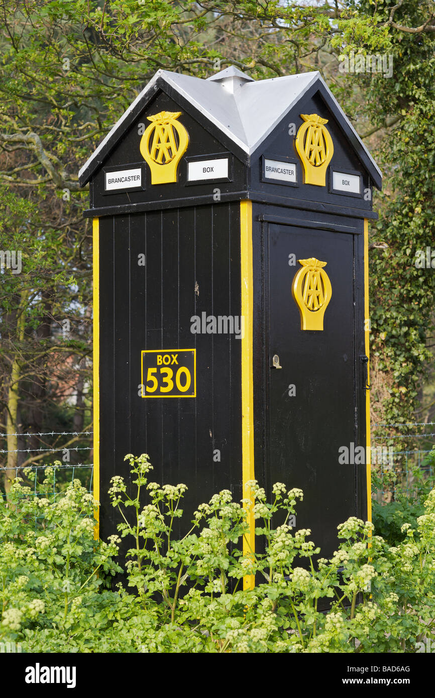 AA telephone Box 530 at Brancaster in Norfolk - Stock Image