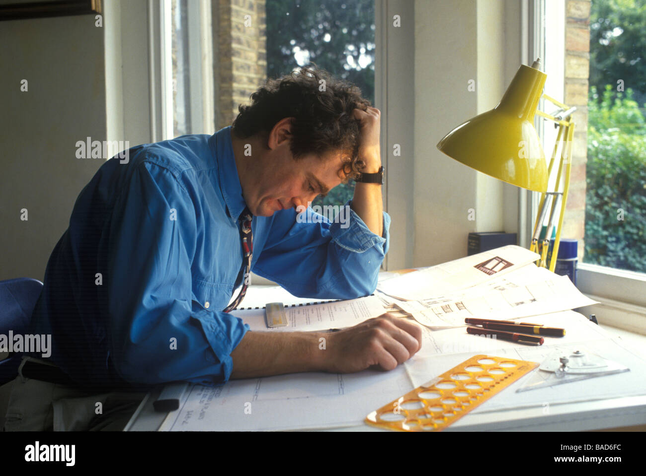 Good Stressed Male Designer Or Architect At Work