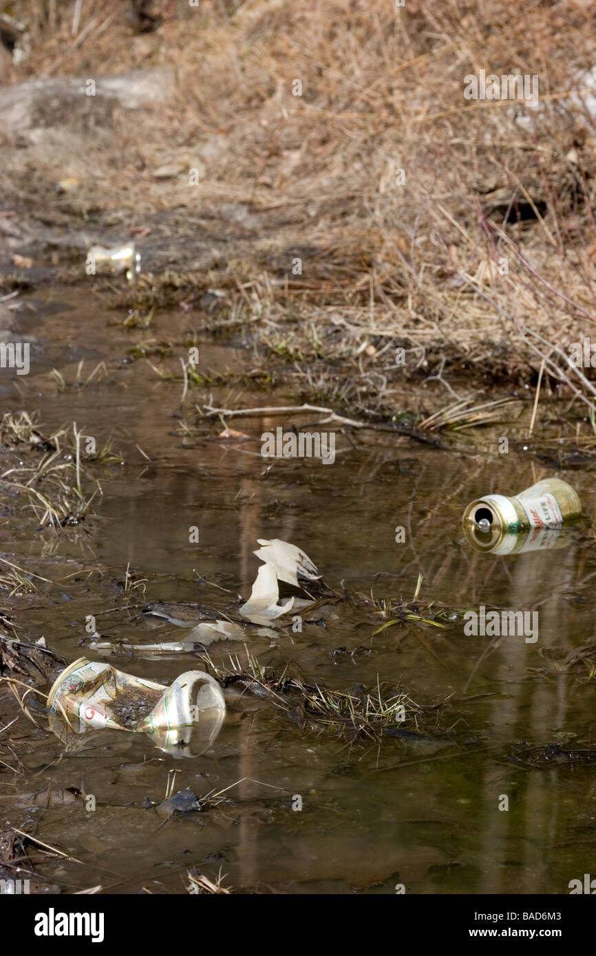 Discarded bottles and cans littered in ditch - Stock Image
