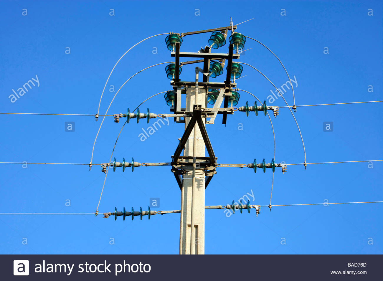 electricity wires with pole and bridge switch - Stock Image