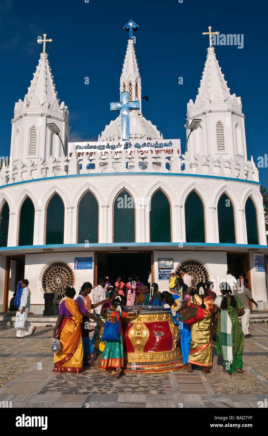 Our Lady's Tank at the Shrine Basilica Velankanni Tamil Nadu India Stock Photo