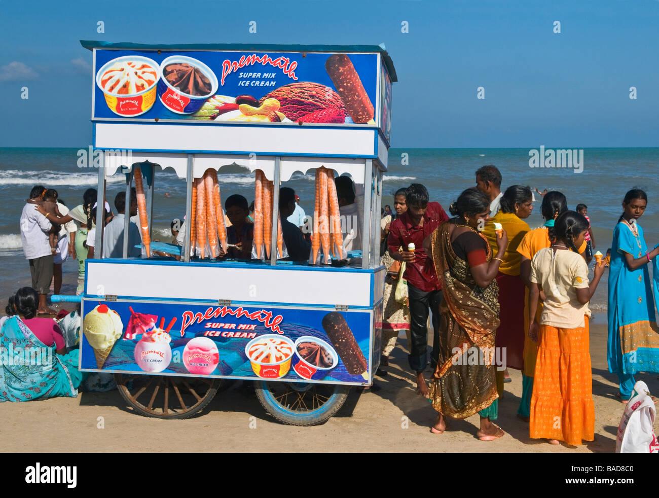 Ice cream seller Velankanni beach Tamil Nadu India Stock Photo