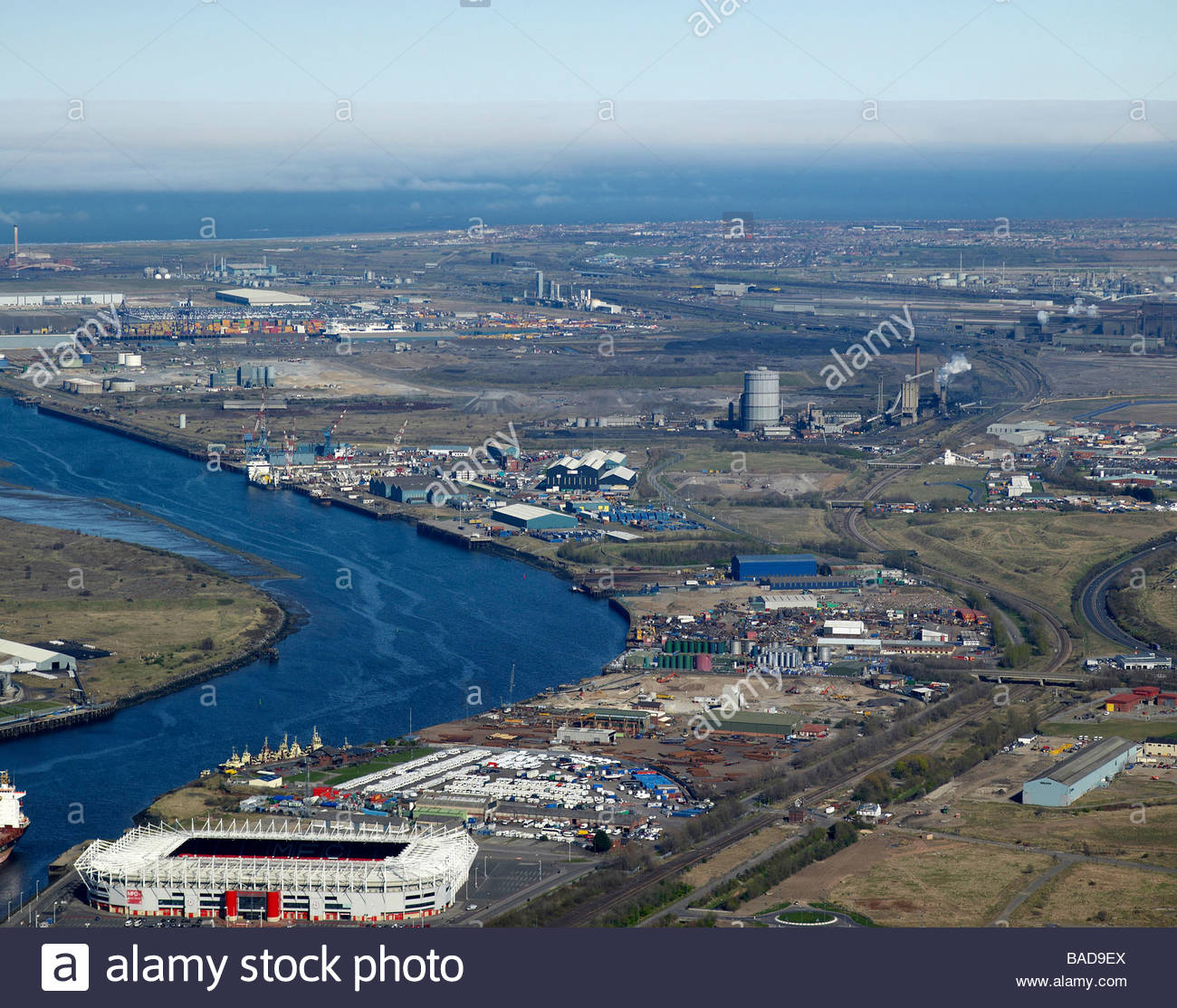 Middlesborough and the River Tees, North East England, showing the Riverside Stadium, and industry along the riverside - Stock Image