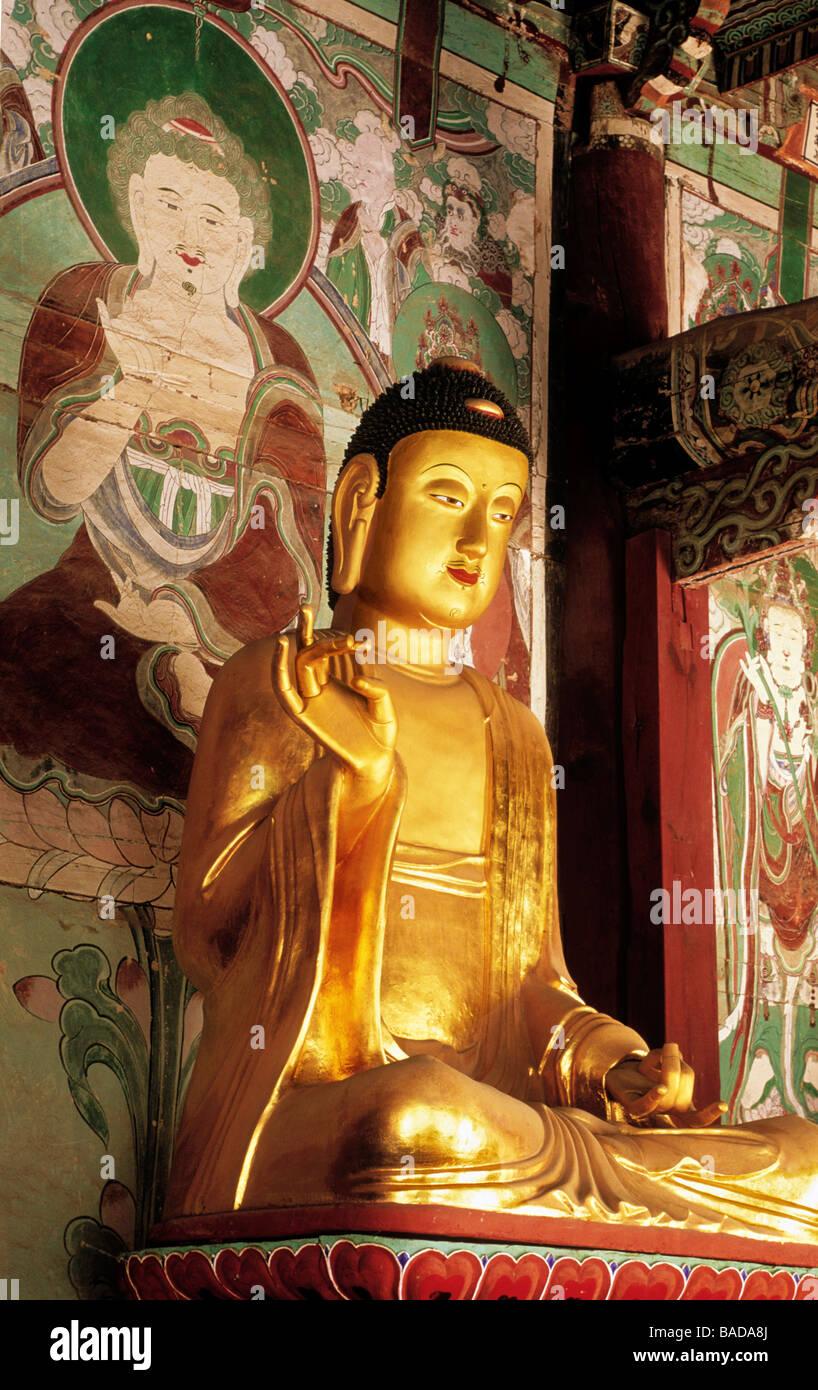 South Korea, Sonunsan Provincial Park, Sonun Sa temple, Buddhas - Stock Image