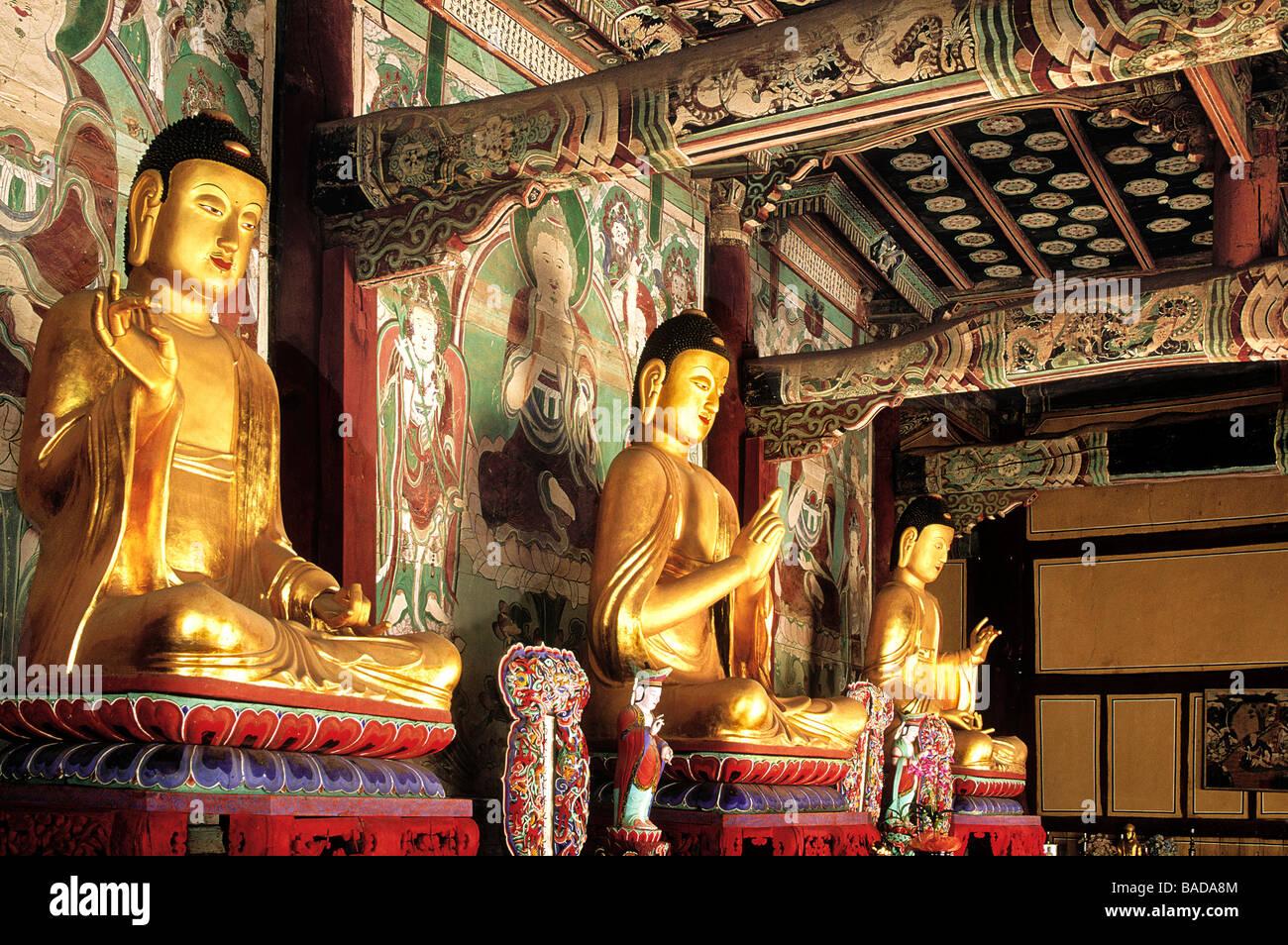 South Korea, Sonunsan Provincial Park, Sonun Sa temple, Buddha - Stock Image
