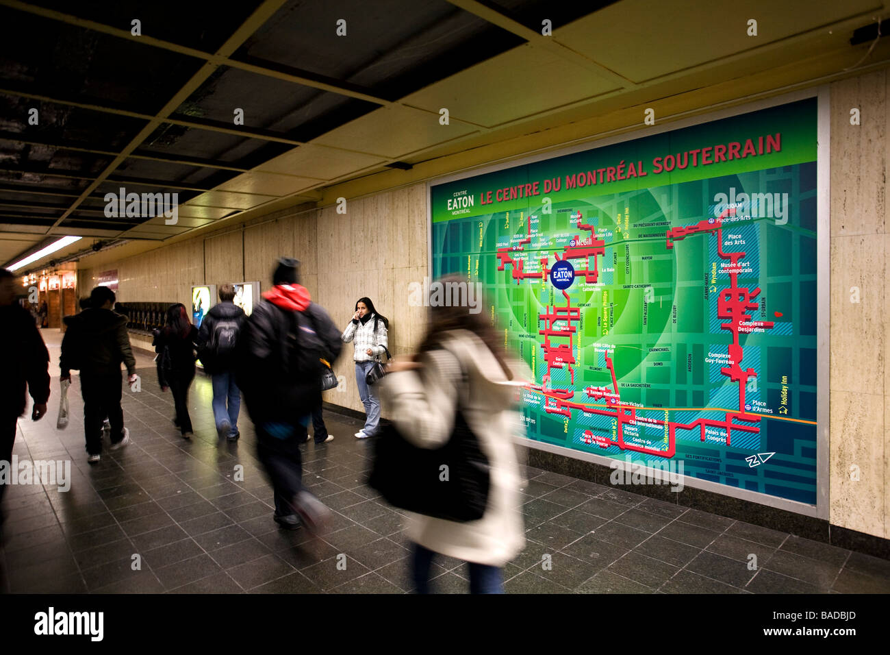 Canada, Quebec Province, Montreal, subway corridor and the underground city map - Stock Image
