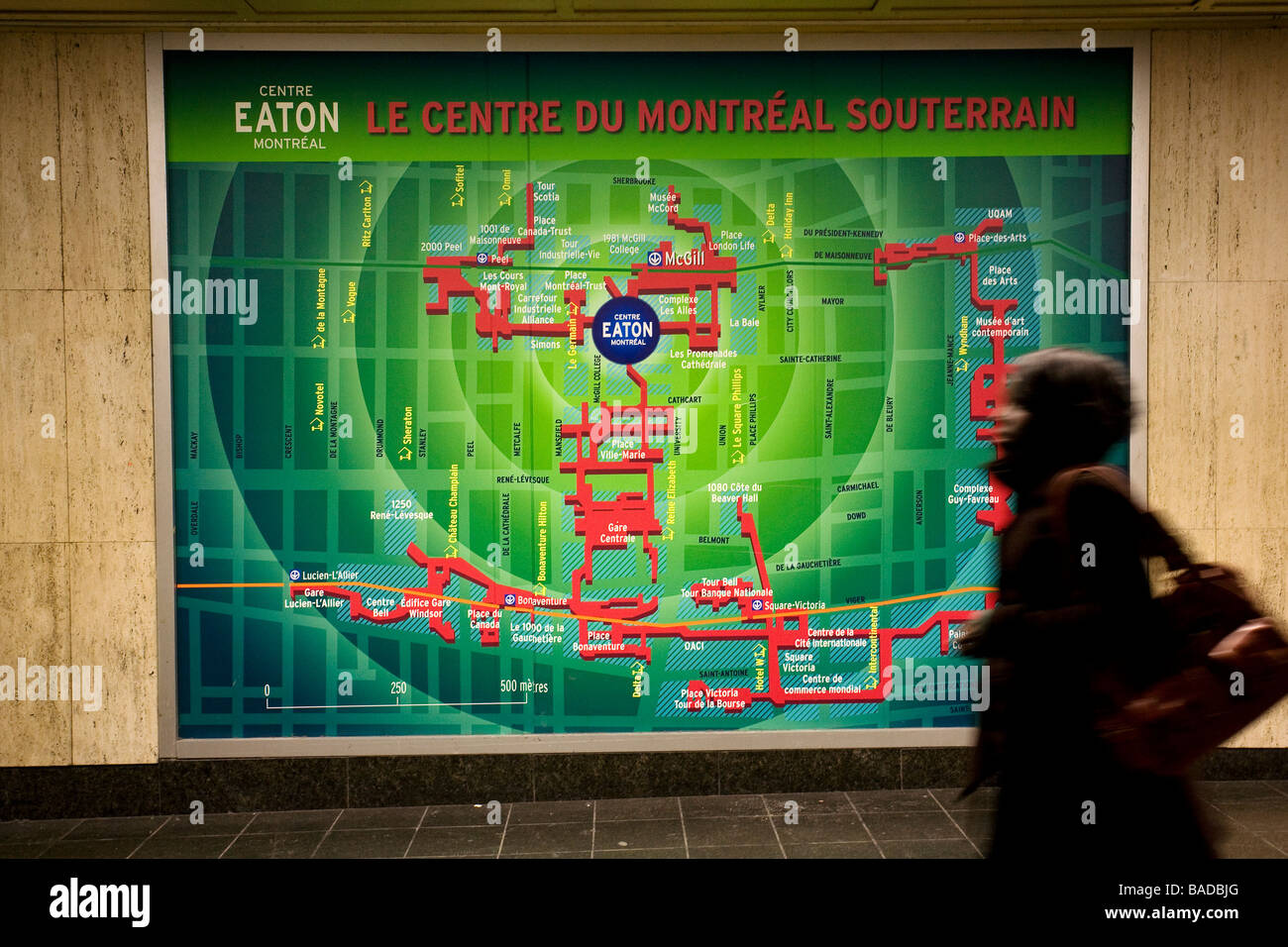 Canada, Quebec Province, Montreal, subway corridor and the underground city map Stock Photo