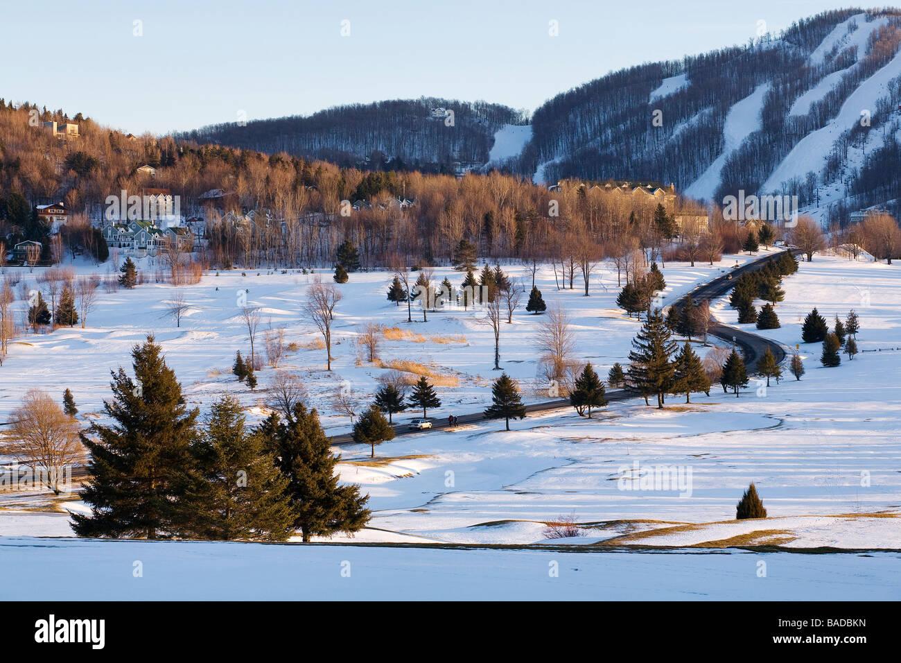 canada, quebec province, estrie region, bromont, ski resort, road