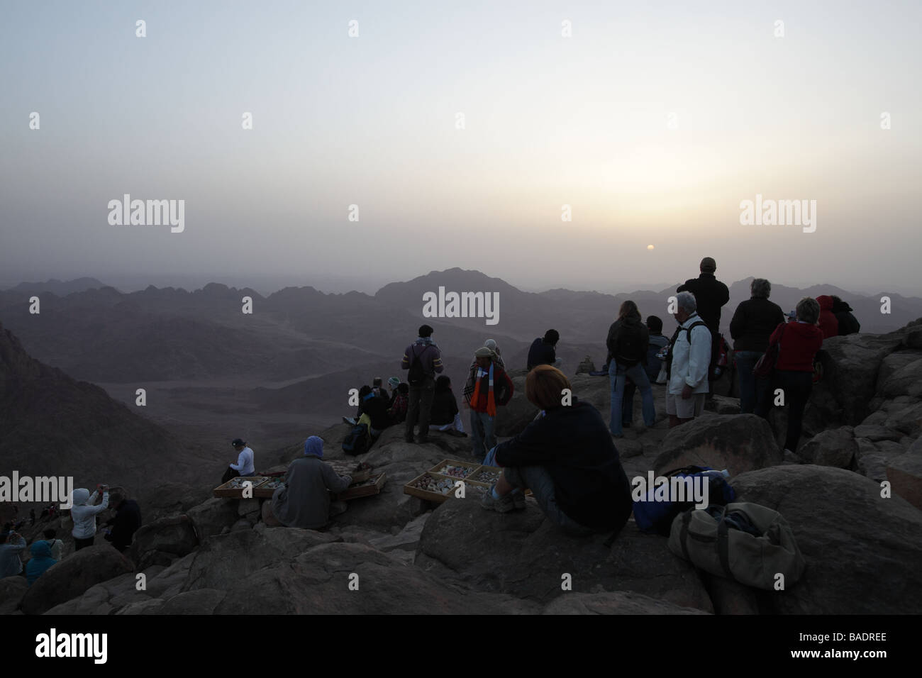 Pilgrims from St Katherines having climbed the Steps of Repentance watching the sunrise on Easter Monday on Mount Stock Photo