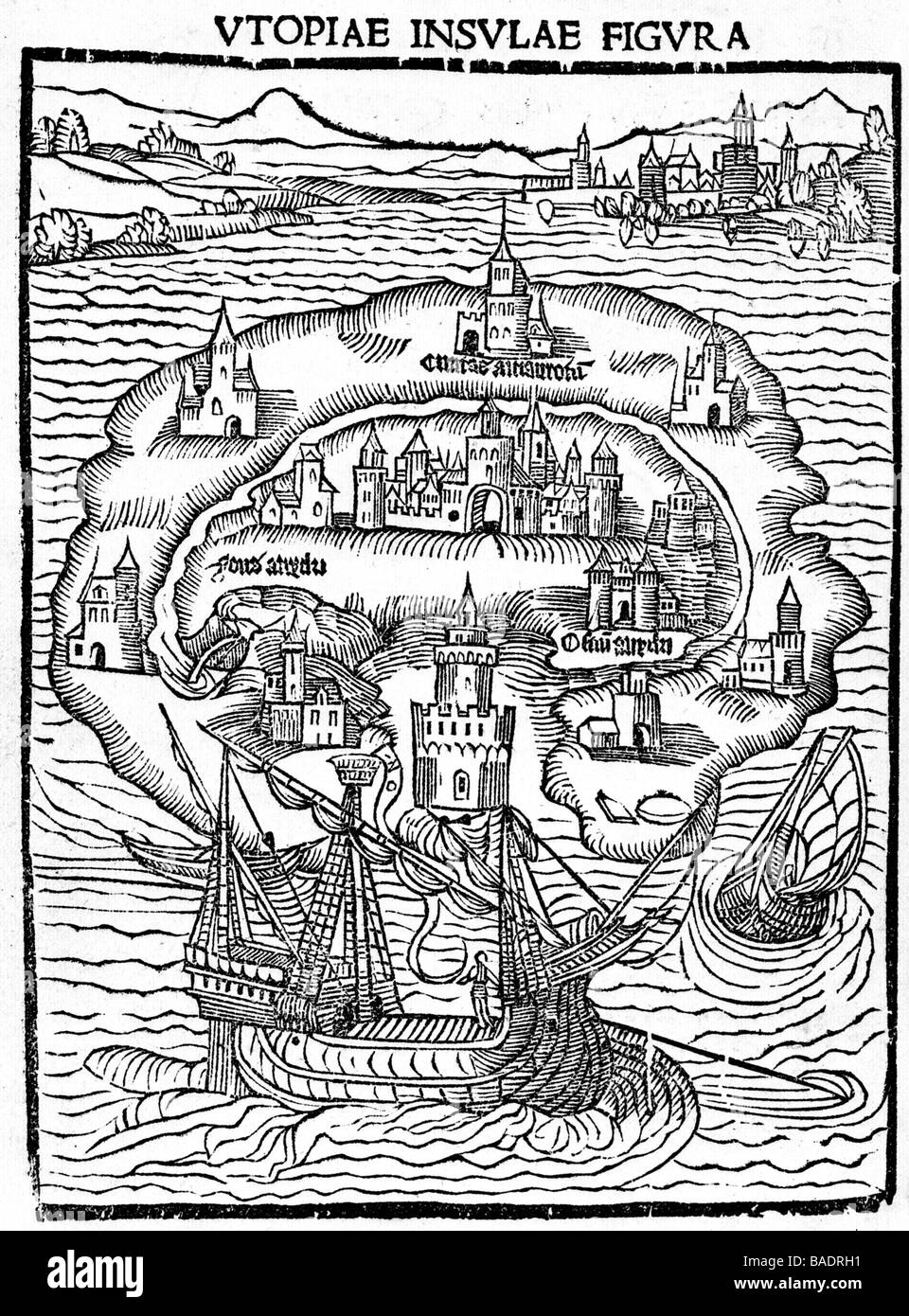 UTOPIA Frontespiece of the 1516 first edition of the book by Sir Thomas Moore - Stock Image