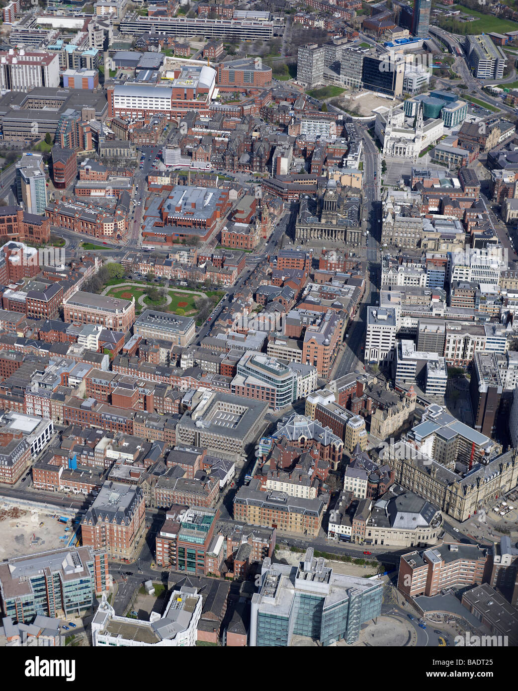 Aerial View of Leeds City Centre, 2009, Northern England - Stock Image