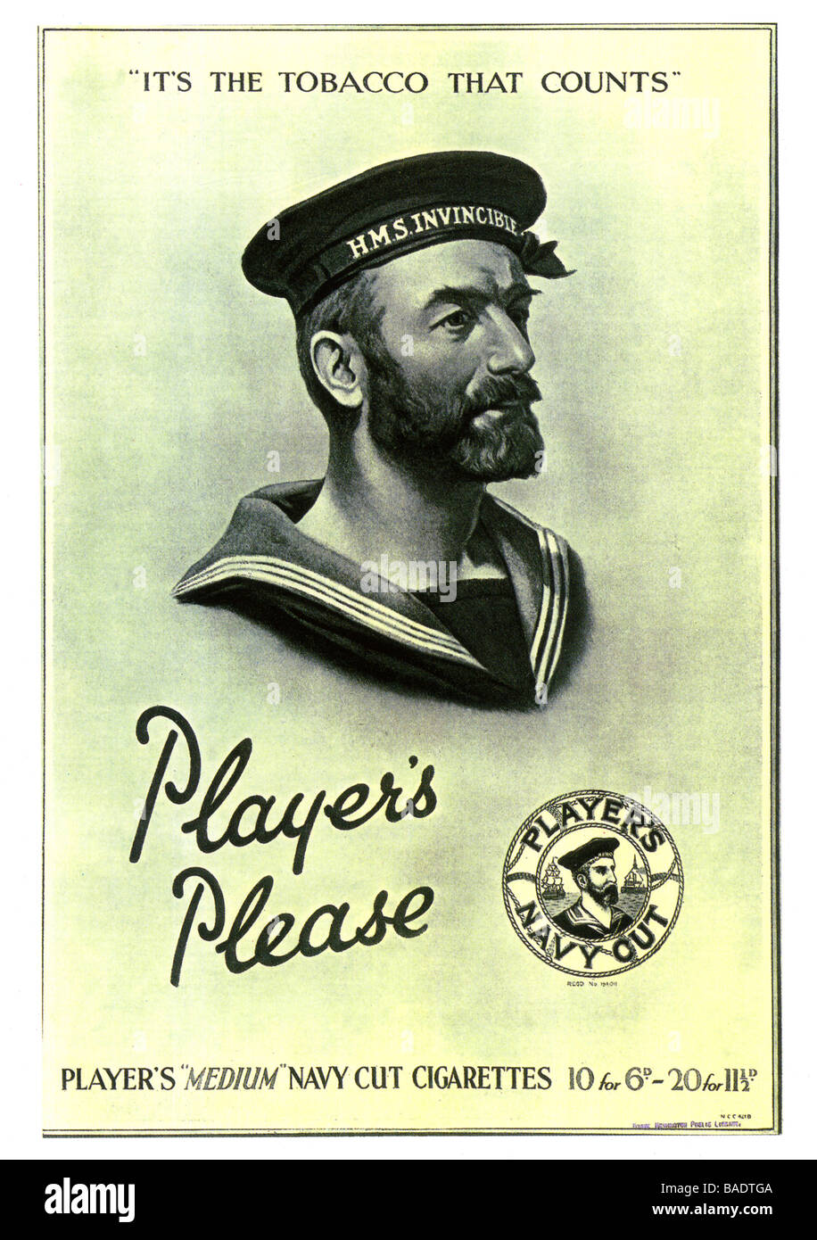 ADVERTISING Players Please cigarette advert from 1927 - Stock Image