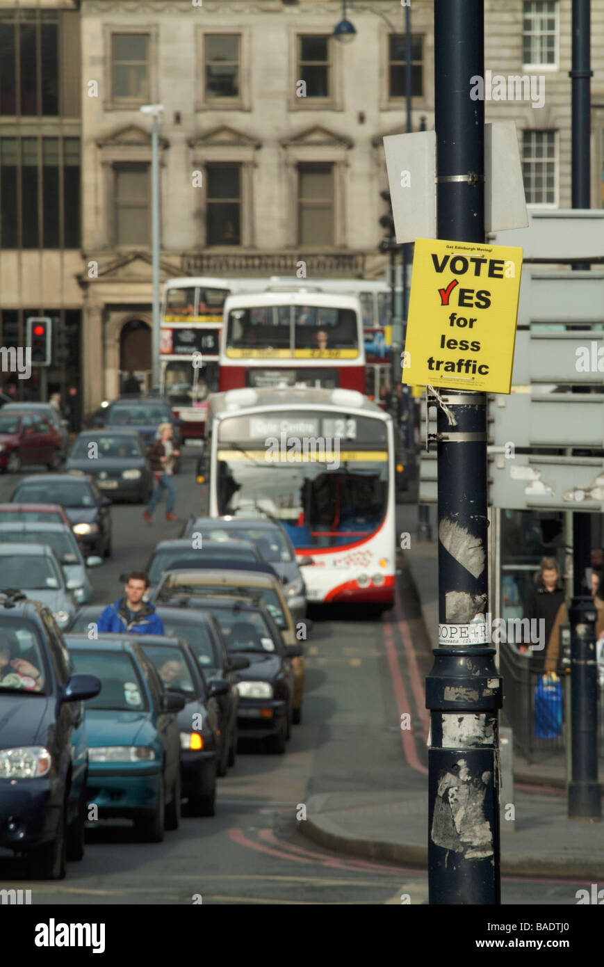 A poster for the 'vote yes to congestion charging' campaign on the Lothian Road during the February 2005 - Stock Image