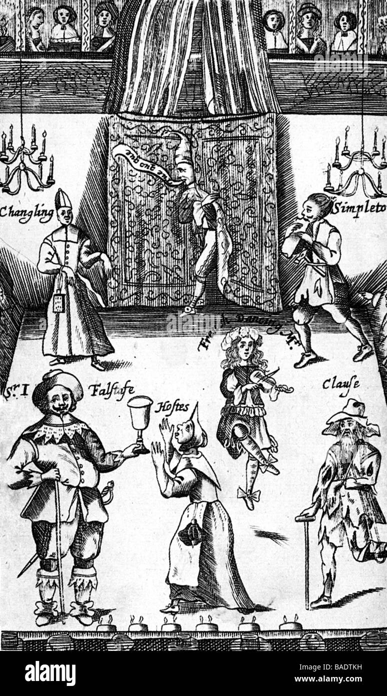 LONDON THEATRE as shown in a 1673 print with popular figures from Shakespeare - Stock Image