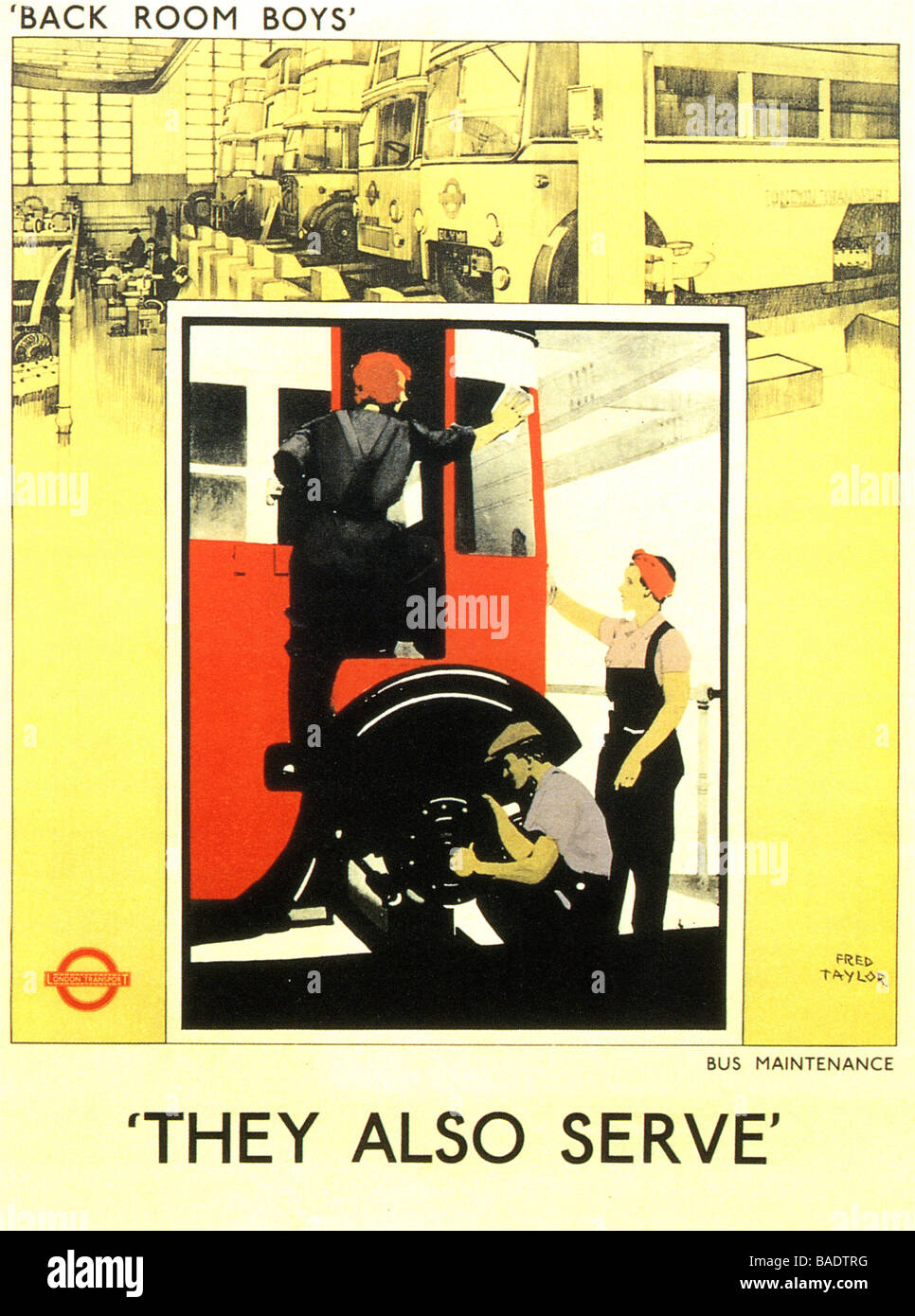 THEY ALSO SERVE 1942 London Transport advert designed by Fred Taylor - Stock Image