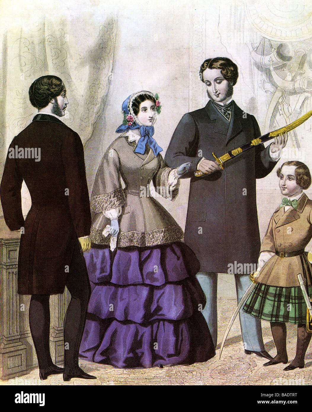 VICTORIAN FASHIONS in a mid-19th century style magazine - Stock Image