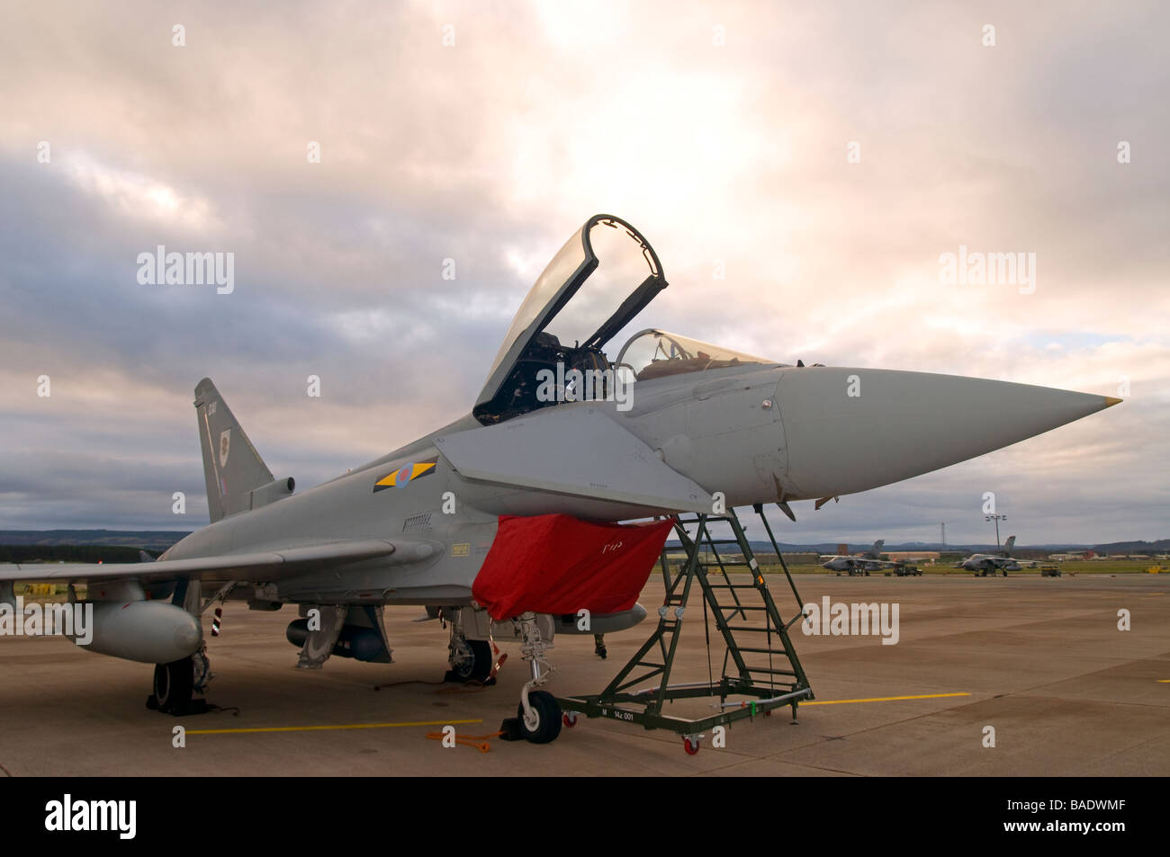 Typhoon Eurofighter preparing for the first flight of the day at RAF Kinloss Morayshire  SCO 2389 - Stock Image