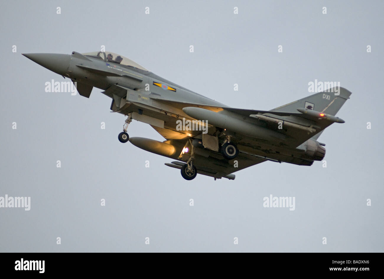 Final approach for an RAF Typhoon Eurofighter at RAF Kinloss Morayshire.   SCO 2393 - Stock Image