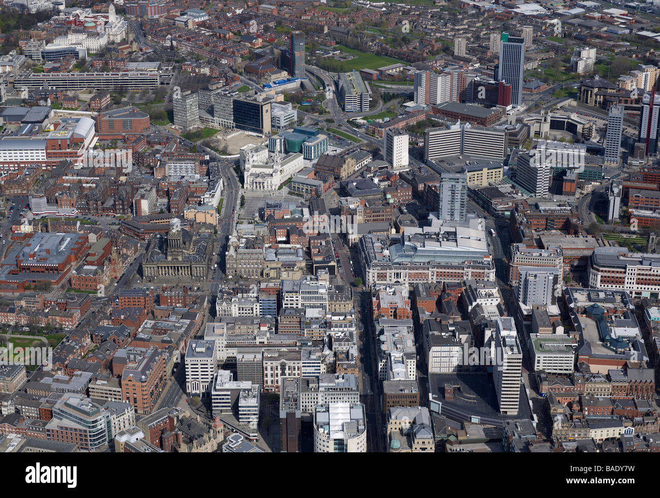 Aerial View of Leeds City Centre Civic area, 2009, Northern England - Stock Image