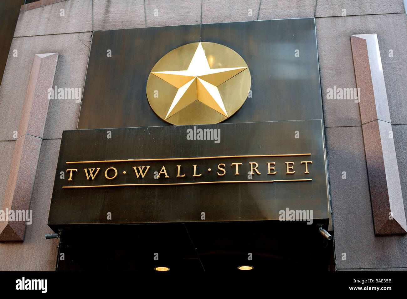 United States, New York, Wall Street, inscription and Golden Star on NYSE (New York Stock Exchange) Building Facade - Stock Image