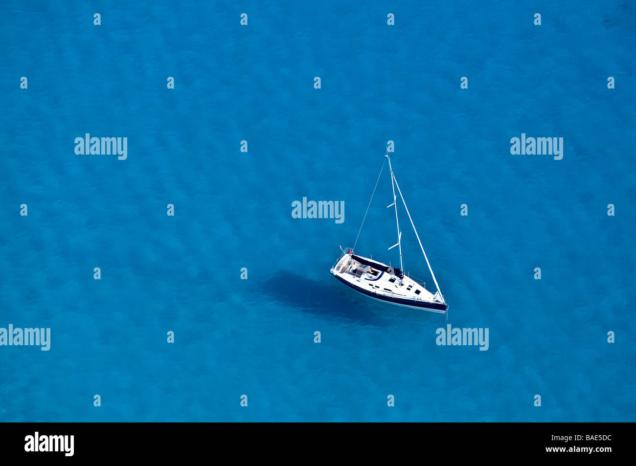 France, Corse du Sud, the Gulf of Lava, yacht (aerial view) - Stock Image