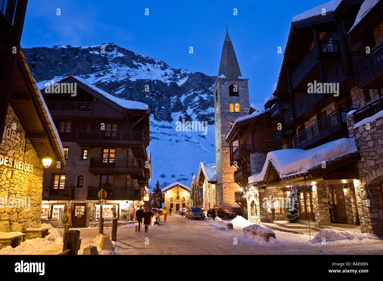 France, Savoie, Val d'Isere, view of the village and Saint Bernard de Stock Photo - Alamy