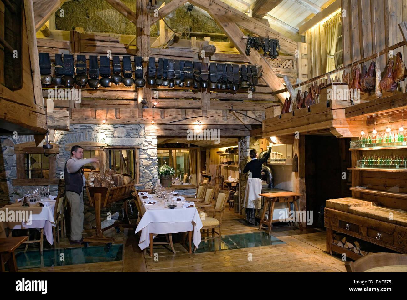 France, Haute Savoie, Megeve, La Ferme de mon Pere restaurant of ...