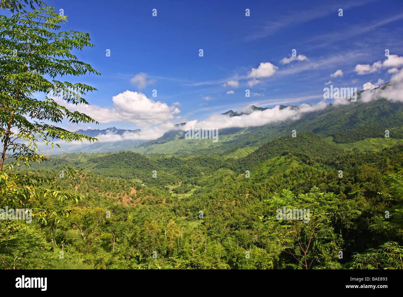 Beautiful landscape with green mountains around Mai Chau minority village. Vietnam - Stock Image