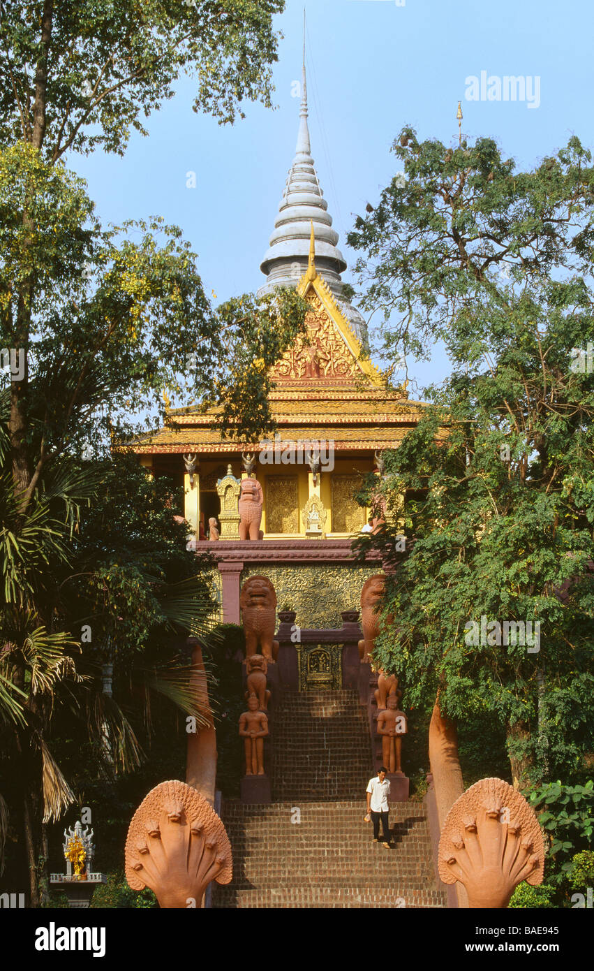 Cambodia, Phnom Penh, Vat Phnom pagoda - Stock Image