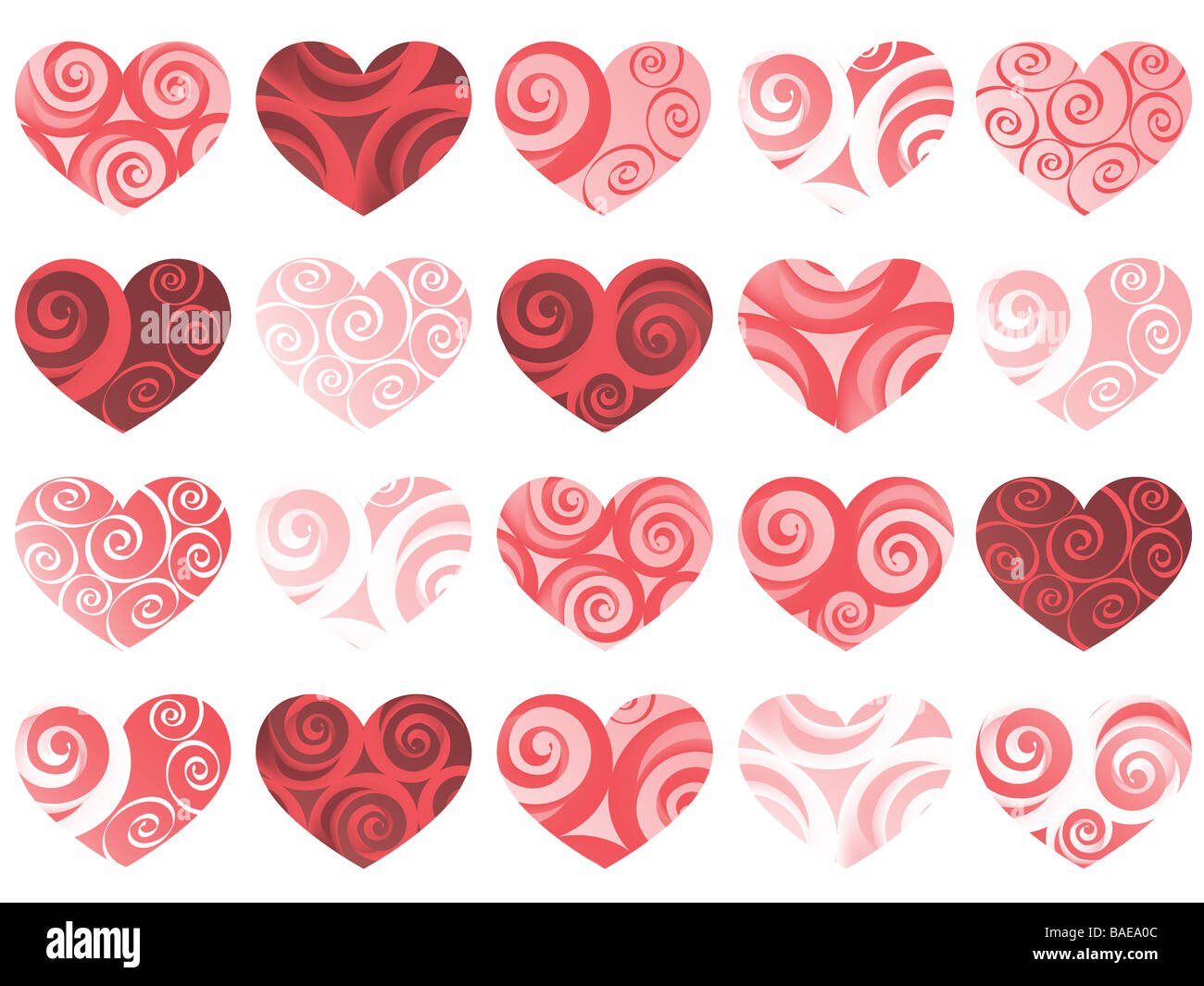 hearts isolated pattern vector holiday valentine - Stock Image
