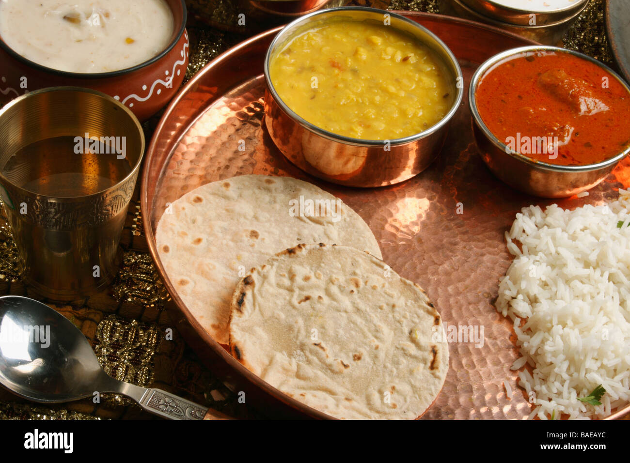 Bhakri is a round flat unleavened bread often used in gujarath and maharashtra - Stock Image