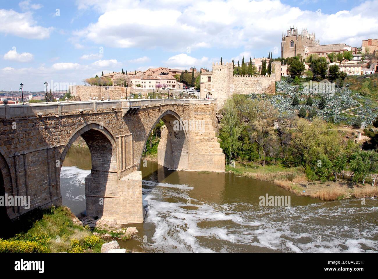 Cityscape, bridge on Tage, Toledo, Spain - Stock Image