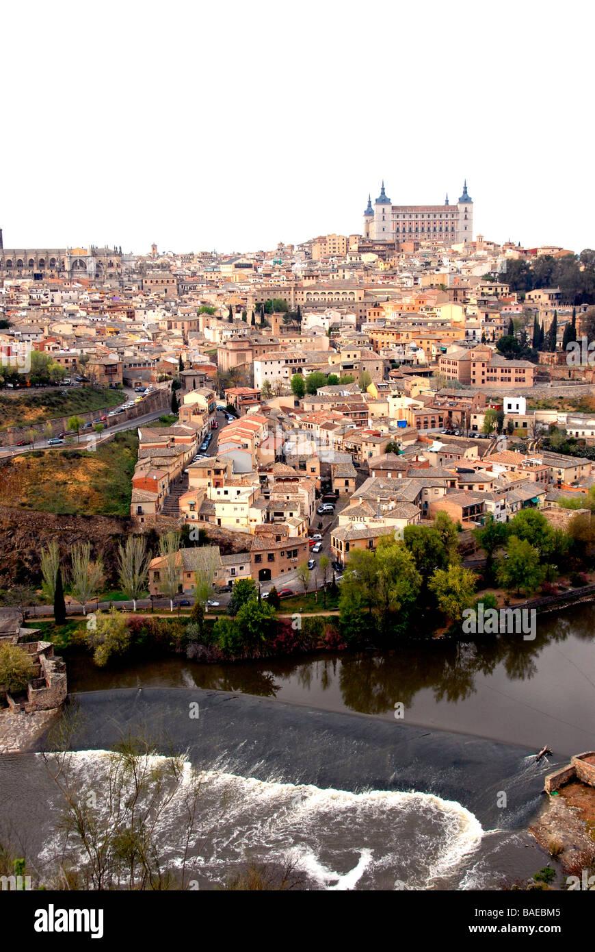 Cityscape, Alcazar and Tage river, Toledo, Spain - Stock Image