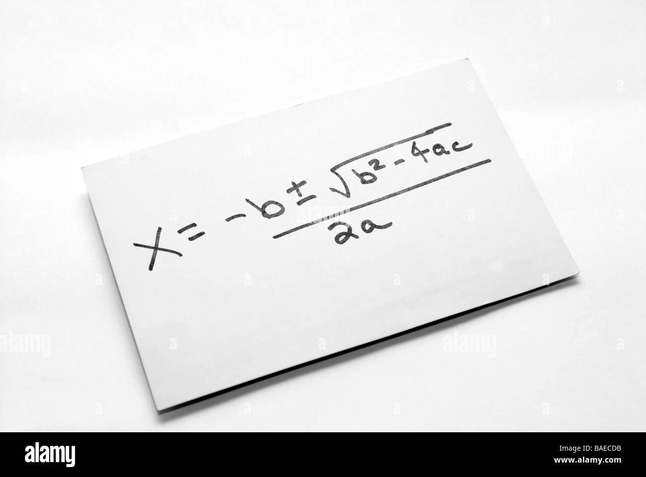 A quadratic equation written by a student as a study aid Richard B Levine - Stock Image