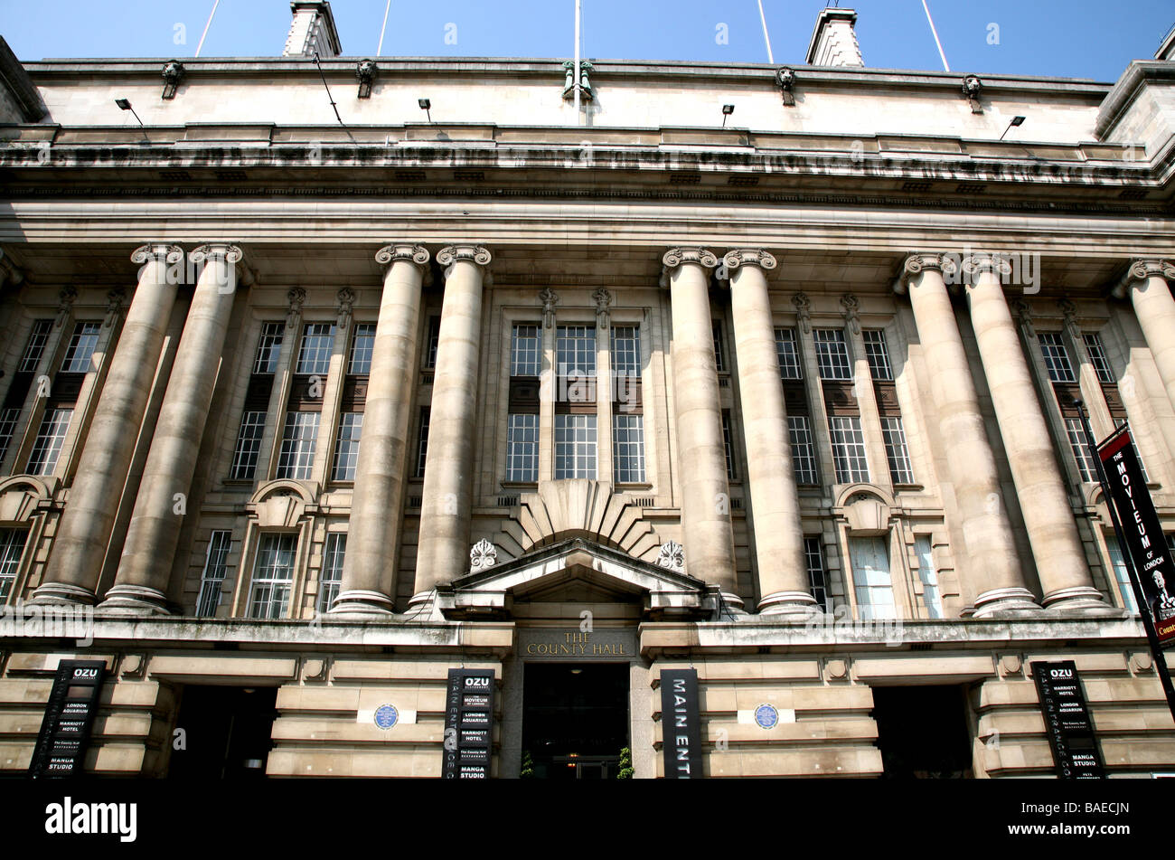 Main entrance to County Hall London Stock Photo